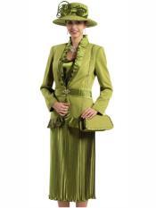 L343 Womens Peach Skin 3Pcs Olive Suit