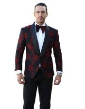 SR22 Mens Single Breasted Shawl Lapel Floral Pattern Paisley