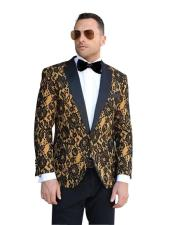 SR23 Mens One Button Notch Lapel Floral Pattern Paisley