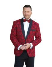 SR26 Mens One Button Shawl Lapel Floral Pattern Paisley