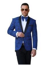 SR27 Mens Royal Blue Single Breasted Paisley Sport Coat