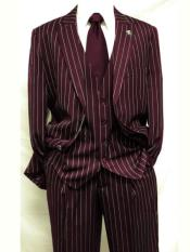 MO839 Mens Dark Burgundy ~ White Gangster Bold PinStripe