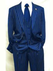 MO840 Mens Royal Blue ~ White Gangster Bold PinStripe