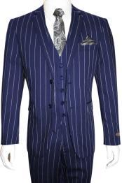 MO847 Mens Bold Gangster 1920s Vintage Dark Navy Blue