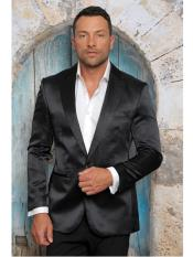SR29 Mens Shiny Flashy Satin Solid Blazer ~ Sport