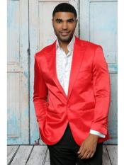 SR34 Mens Shiny Flashy Satin Solid Blazer ~ Sport