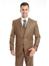 SR37 Mens 3 Piece Single Breasted Slim Fit Notch