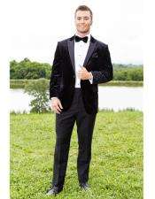 Mens Black Peak Lapel One