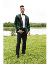 Mens Green Peak Lapel Single
