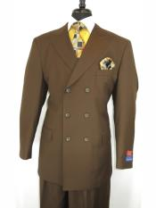 MO853 Mens Button Closure Peak Lapel Brown Double Breasted