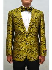 Gold Single Breasted Unique mens Paisley