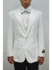 Unique White Peak Lapel mens Floral