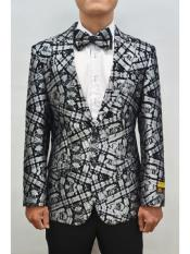 Black-Silver Single Breasted  Mens Floral ~ Fancy Blazer