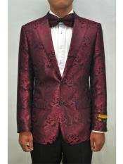 Unique Burgundy Peak Lapel mens Floral
