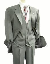 3420-001 OS Falcone Mens Gray Single Breasted Three Button