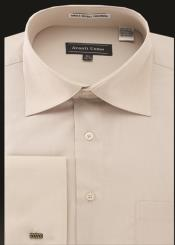 JA481 Mens Avanti Uomo French Cuff Shirt Beige