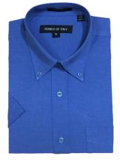 02BS Short Sleeve Cotton Blend Oxford Blue Button-down point
