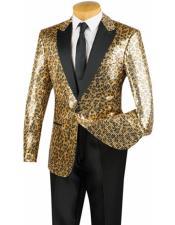 EK284 Mens Gold Leopard Designer  Dinner Jacket One