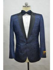 Navy Blue And Black Lapel