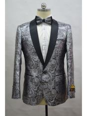 Paisley-300 Silver And Black Two Toned Paisley Floral Blazer