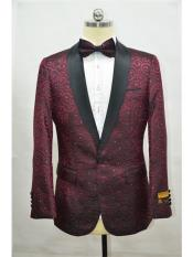Paisley-300 Burgundy And black Two Toned Paisley Floral Blazer