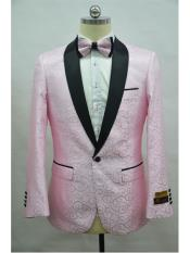 Paisley-300 Pink Tuxedo And Black Two Toned Paisley Floral