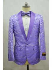 Paisley-300 Lander Light Purple Two Toned Paisley Floral Blazer