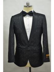 Paisley-300 Black Two Toned Paisley Floral Blazer Tuxedo Dinner