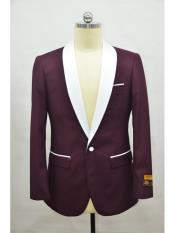 SR129  Mens Blazer Burgundy ~ White