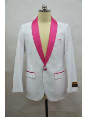 SR137  Mens Blazer  White ~ Fuschia