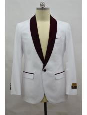 SR139  Mens Blazer  White ~ Burgundy