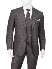 SR152 Mens Gray 3 Piece Single Breasted Two Button