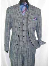 5802V6 1920s Men's windowpane pattern notch lapel navy suit