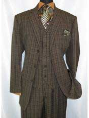 5802V6 1920s Windowpane pattern notch lapel brown men's suit