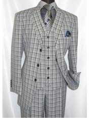 5802V6 1920s Men's three button single breasted grey plaid