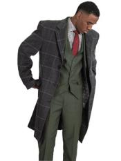 SR163 Mens Stacy Adams Single Breasted Windowpane Pattern Gray