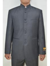 SR175 Mens Eight Button Mandarin Banded Collar Charcoal Suits