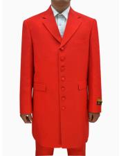 SR183 Mens Red Single Breasted Seven Button Zoot Suits