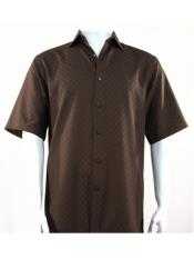 SR254  Mens Bassiri Button Down Short Sleeve Shadow