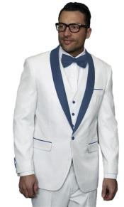JA505 Mens Alberto Nardoni White Tuxedo Navy Blue Lapel