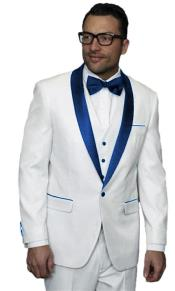 JA506 Mens Alberto Nardoni White Tuxedo Dark Navy Blue