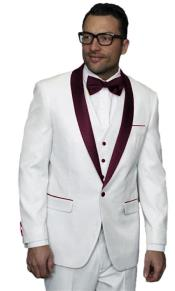 JA507 Mens Alberto Nardoni White and Burgundy ~ Maroon