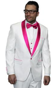 JA513 Mens Alberto Nardoni White Pink Tuxedo Jacket Vested