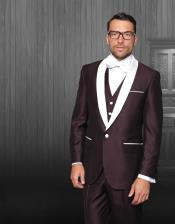 JA541 Mens Single Breasted Shawl Lapel Burgundy Tuxedo White