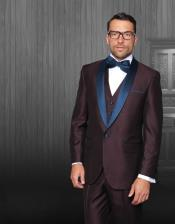 JA543 Mens Burgundy Tuxedo Shawl Lapel Single Breasted Navy