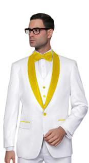 JA551 Mens Alberto Nardoni White Tuxedo Yellow