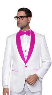 JA555 Mens Alberto Nardoni White Tuxedo Hot Pink