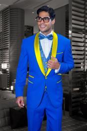 JA557 Mens Royal Blue and Yellow Tuxedo