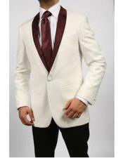 JA564 Mens Blazer Ivory/Burgundy ~ Cream Tuxedo