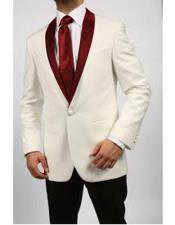 JA565 Mens Blazer Ivory/Maroon ~ Cream Tuxedo